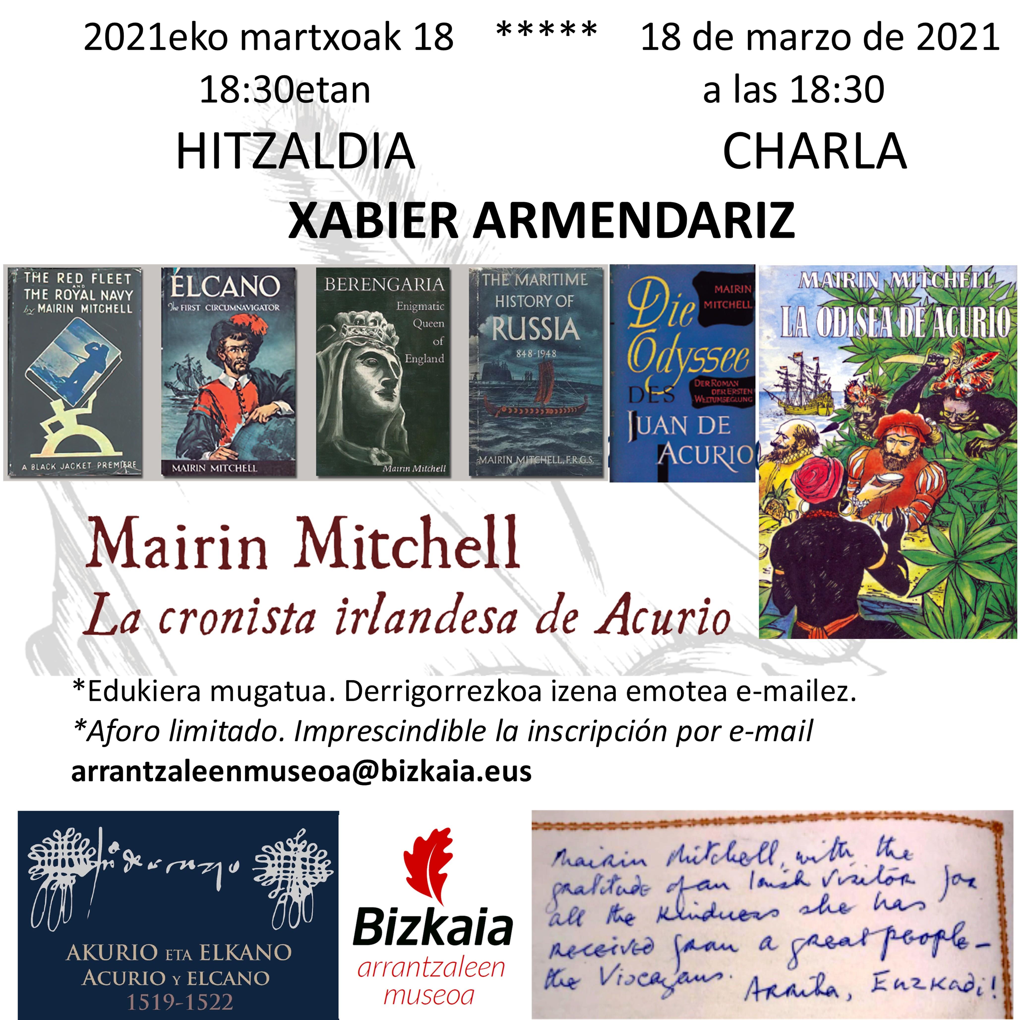 ARRANTZALEEN MUSEOA (BERMEO): CONFERENCIA Mairin Mitchell. La cronista de Acurio
