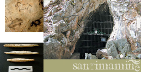 Pinturas de la cueva de Santimamie. Azagayas. Entrada de la cueva.